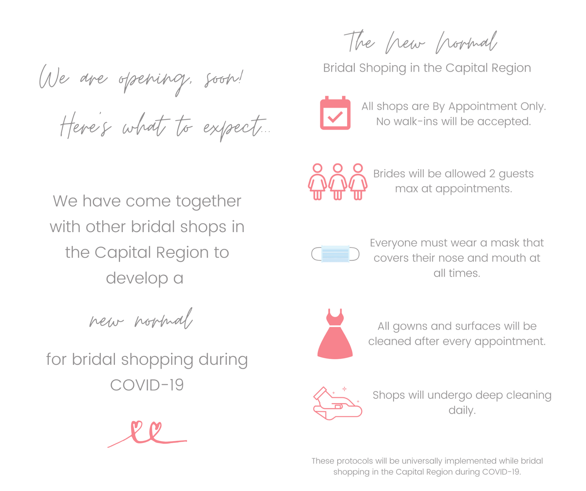 New COVID-19 Bridal Shopping Protocols